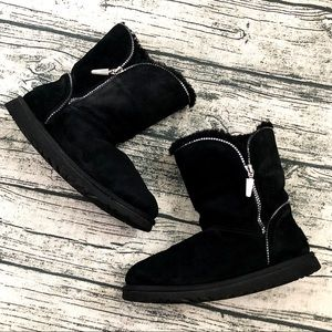 UGG⚡️Authentic Black Sherpa Suede Boots_7/7.5